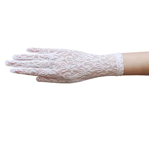 (ZaZa Bridal Fabulous Stretch Flower Pattern Lace Gloves Wrist Length 2BL-White)