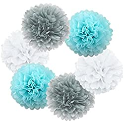 Hanzen 6 Pcs Mixed White Gray Light Blue 10 Inch Tissue Paper Pom Poms Flower Balls For Birthday Wedding Party Baby Shower Outdoor Decorations