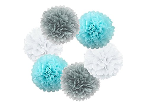 Hanzen 6 Pcs Mixed White Gray Light Blue 10 Inch Tissue Paper Pom Poms Flower Balls For Birthday Wedding Party Baby Shower Outdoor (Light Blue Pom Pom)