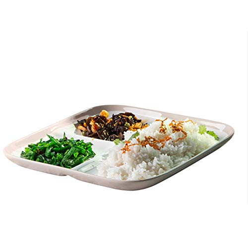 SEADOSHOPPING Partitioned Scoop Dish, Ceramic Plate with Dividers for Dinner Winter Frost White ()