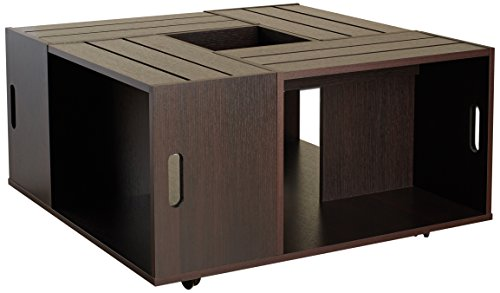 ioHOMES Trenton Crate Coffee Table, Espresso