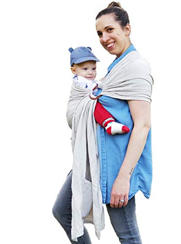 (Designer Luxury Ring Sling Baby Carrier - Incredibly Soft Bamboo and Linen Fabric - Eco-Friendly - for Newborns, Infants and Toddlers - Ideal Baby Shower Gift - Nursing Cover - Holds up to 35lbs)