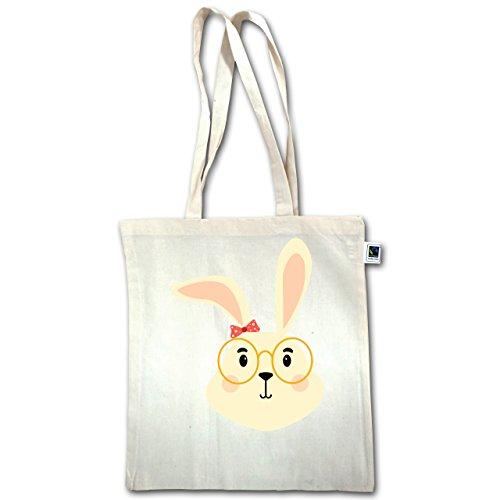 Motivi Animali Bambino - Simpatico Coniglietto Con Occhiali E Nastro - Unisize - Naturale - Xt600 - Manico Lungo Borsa Juta