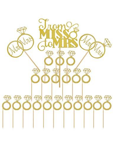 Joyclub Gold Mr Mrs Cake Topper Diamond Ring
