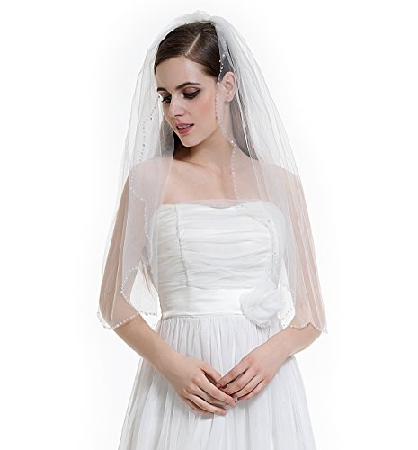 Tiara Cut Edge (1T Bridal Wedding Veil with Comb Crystals Beaded Scalloped Edge Fingertip Length-V60(Ivory))