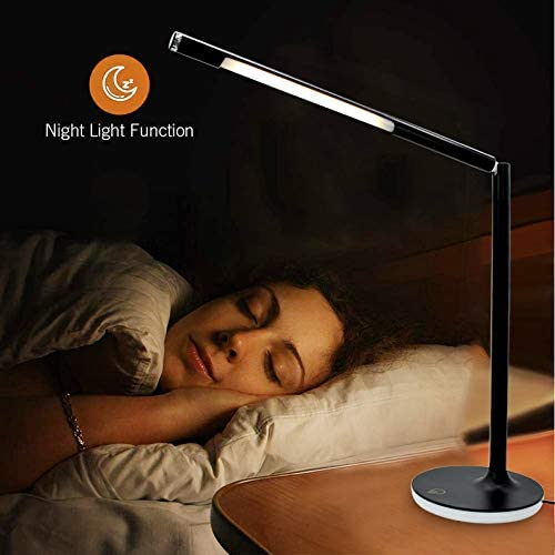 Cable 5 Modes /& 7 Brightness Levels Battery Desk Light Touch Control Night Light W-LITE LED USB Dimmable Table Lamp Black 5W Eye-Caring Removable Stand Desk Lamp 360 Degrees Adjustable
