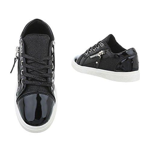 Zapatos para Design N 4 Negro Bajas Mujer Zapatillas Zapatillas Plano Ital 5SEqBnZ