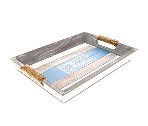 CoTa Global Nautical Wooden Ocean Breeze Beach Theme Décor Real Natural Wood Handcrafted Hand Painted Aqua Sky Serving Tray Home Accent Kitchen Bedroom Living Room Unique Gift Souvenir ()