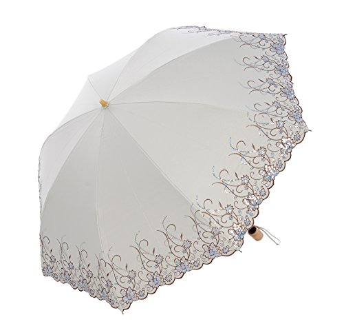 - Honeystore Frilly Embroidery Lace Two Folding Parasol Travel Umbrella Champagne