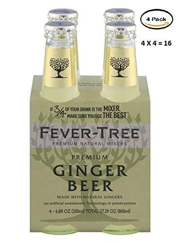 Fever Tree Premium Ginger Beer Soda, 6.8 Fluid Ounce - 4 per pack- 4 packs per case