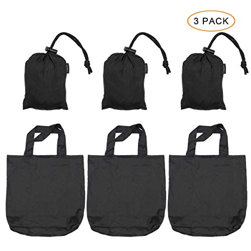 Browint Reusable Grocery Bags Set of 3, Parachute Nylon Shopping Bags Folded into Attached Pouch, Heavy Duty Tote Bags, Max. Hold 110 lbs, Washable Lightweight Extra Large 19