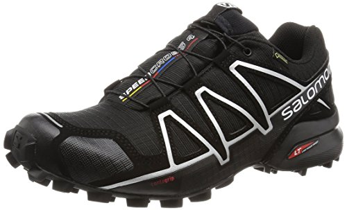 Salomon Men's SPEEDCROSS 4 GTX Trail Running Shoe, Synthetic/Textile, Black (Black/Black/Silver Metallic-X), 10.5 M ()
