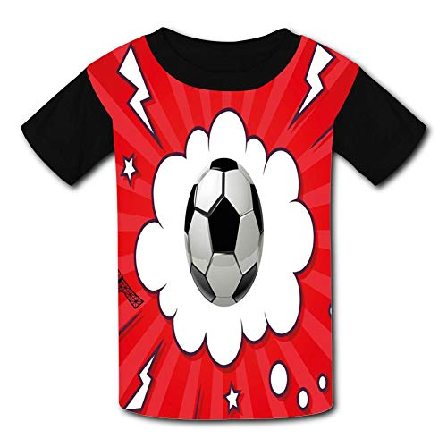 Interesting Football Hand-Painted Design Child Short Sleeve Fashion T-Shirt of Boys and Girls