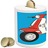 Funky Piggy Bank by Lunarable, Cute Scooter Motorcycle Retro Vintage Vespa Soho Wheels Rome Graphic Print, Printed Ceramic Coin Bank Money Box for Cash Saving, Blue Vermilion White