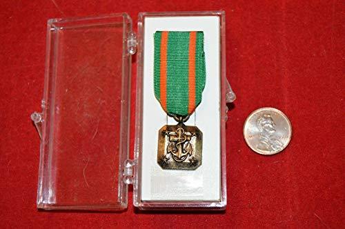 U.S.M.C. USN Achievement Mini Medal Pin Military Merit Green Ribbon in Box