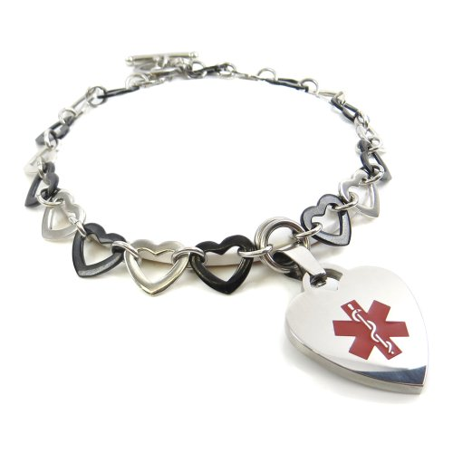 MyIDDr - Pre-Engraved & Customized Women's Blood Type AB Toggle Medical Charm Bracelet, Black & Steel Hearts, Red