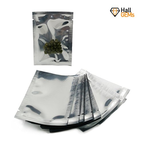 Clear Foil - Premium Mylar Foil Open Top Bags (6cm x 9cm) Perfect for Sample Giveaway (100, Silver, Clear Front)