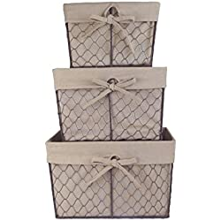 DII Farmhouse Vintage Food Safe Metal Chicken Wire Storage Baskets with Removable Fabric Liner for Home Décor Or Kitchen Use, Mixed Set of 3, Natural