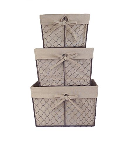 Home Traditions Vintage Metal Chicken Wire Storage Basket with Removable Fabric Liner, Set of 3 Mixed Nesting Sizes, Natural