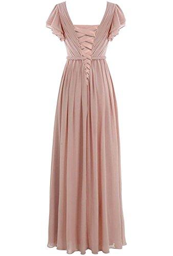 Neck V Sleeves Cap Bridesmaid Grape Chiffon Dresses Women Anlin ALS05 Long Pleated 1q00YT