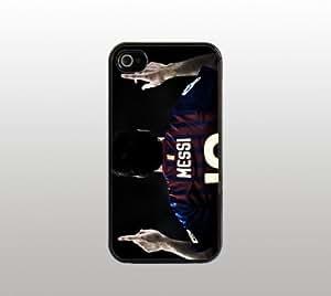 Lionel Messi Hard Snap-On Case for iPhone 4 4s - Black - Cool Custom Cover - La Liga club FC Barcelona Futbol Football Soccer