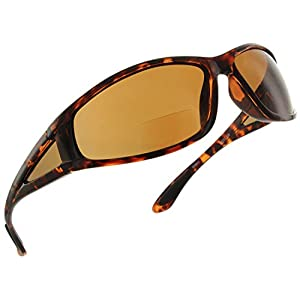 Fiore Oceanside Polarized Wrap Nearly Invisible Line Bifocal Sunglass Readers [Tortoise, 2.00]