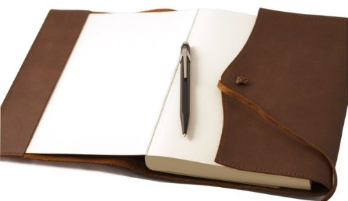 Amalfi Large Refillable Leather Journal with Plain Paper - Chocolate