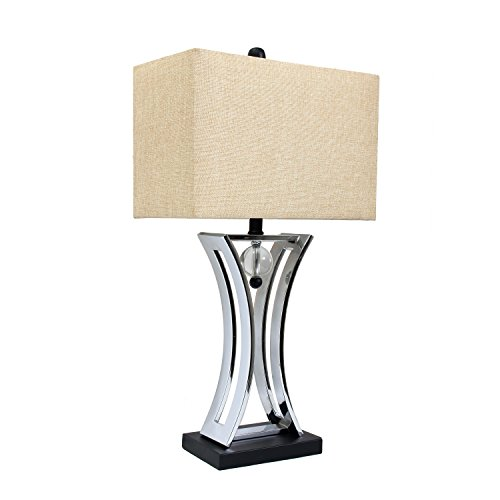 Elegant Designs LT2001-CHR Conference Room Hourglass Shape Pendulum Table Lamp with Black Base, Chrome (Glass Table All Lamps)