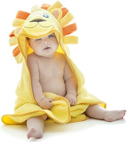 Little Tinkers World Toalla de bebé con capucha de león EXTRA SUAVE - Toalla de baño para bebé 100% algodón - Perfecta para bañar a tu bebé - Para recién nacidos y