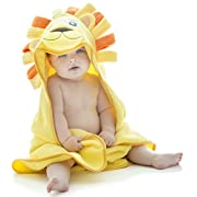 Little Tinkers World Lion Hooded Baby Towel, Natural Cotton, 30x30-Inch