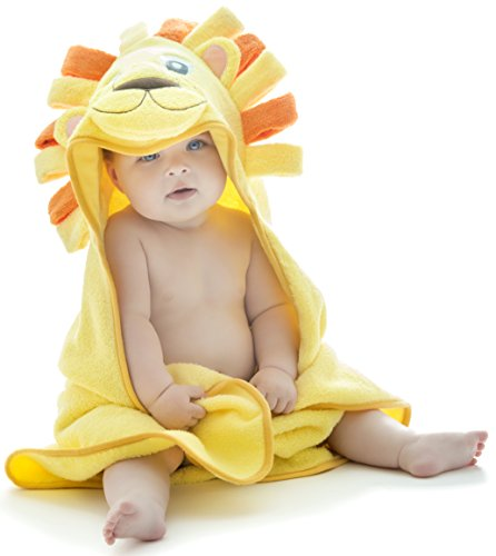 Little Tinkers World Lion Hooded Baby Towel, Natural Cotton (Small) ()