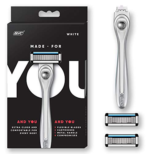 Made For YOU by BIC Shaving Razor Blades for Men & Women, with 2 Cartridge Refills - 5-Blade Razors for a Smooth Close Shave & Hair Removal, WHITE