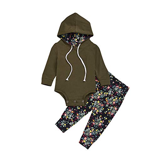 Toddler Newborn Baby Girl Outfits Army Green Hoodie Romper Tops + Floral Pants Spring Clothes Set (Green, 18-24 Months) (0 Interest On Purchases For 24 Months)