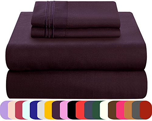Mezzati Soft and Comfortable Bed Sheets Set – 1800 Prestige Brushed Microfiber Collection Bedding (Purple, Twin)