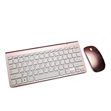 Boddenly Ultra-thin Mini 2.4 GHz 1600DPI Wireless Mouse Keyboard Suit Keyboard & Mouse Combos for Home Office Laptop PC Tablet Gaming LOL CF DOTA WOW (rose gold)