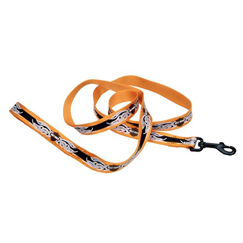 "Harley-Davidson Nylon Dog Leash Head - 1"" x 6' - Orange Bar and Flames"