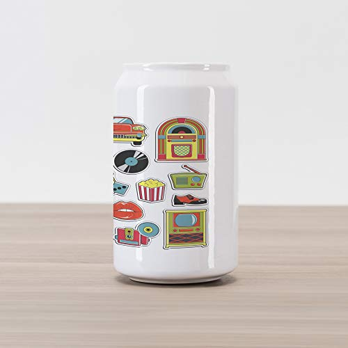 Lunarable Colorful Cola Can Shape Piggy Bank, Fifties Vintage Stickers Collection Jukebox Radio and Disco Shoes Pop Art Design, Ceramic Cola Shaped Coin Box Money Bank for Cash Saving, Multicolor