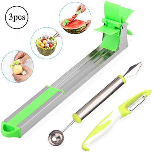 Watermelon Windmill Slicer Cutter Stainless Steel Fruit Vegetable Knife with Melon Baller Scoop & Paring Knife Kitchen -