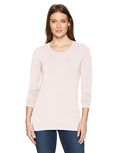 Amazon Essentials Women's Classic-Fit Long-Sleeve Crewneck T-Shirt, Light Pink, Small