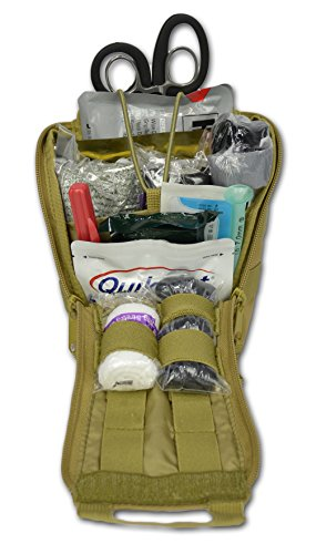 Lightning X PREMIUM IFAK Gunshot Trauma & Bleeding MOLLE Kit w/ Entry-Exit Wound Supplies - TAN