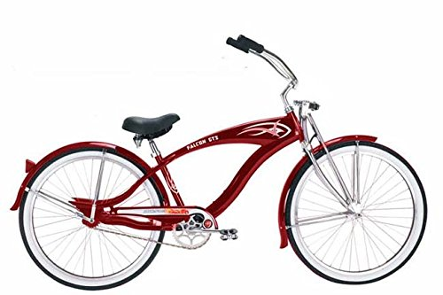 Micargi Falcon GT Cruiser Bicycle, Red/Black, 26-Inch