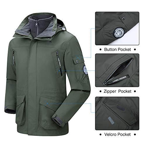 39ecf10154 Amazon.com  CAMEL CROWN Men s Waterproof 3-in-1 Ski Jacket Windproof Warm  Winter Coat Mountain Snow Jacket for Rain Outdoor Hiking  Clothing