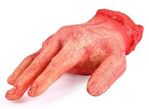 ONEDONE Severed Hand Scary Bloody Fake Human Body Parts Halloween Prop Cospaly -