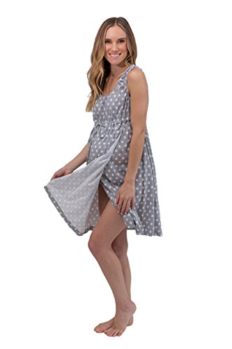 Baby Be Mine 3 in 1 Labor/Delivery/Nursing Gown Maternity (L/XL, Gray Polka Dot)