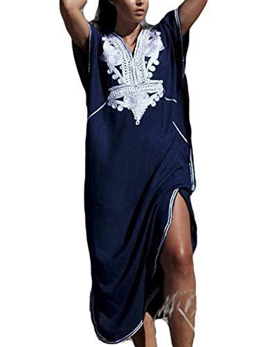 Bsubseach Navy Short Sleeve Kaftan Dress for Women Loose V Neck Bikini Cover Up Plus Size