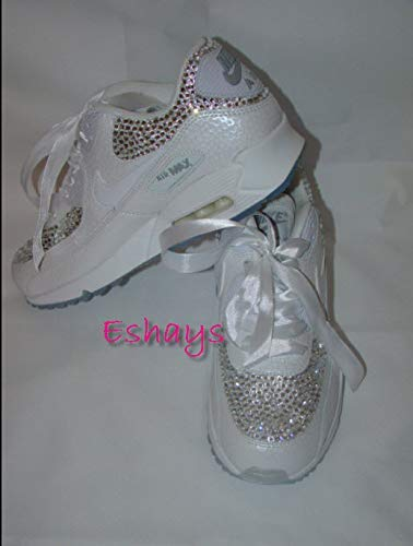 separation shoes 6e08b 2cb31 Amazon.com  Custom Crystal Shoes  Bling Rhinestone Wedding Sneakers   White Nike  Air Max 90  Handmade