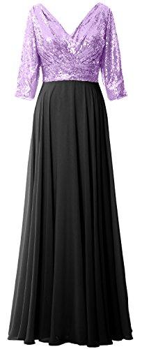 Les Femmes Macloth 3/4 Robe Formelle Manches Robe Mère V Cou Sequin Mousseline De Mariage Lavande Noir