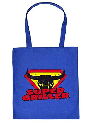 SUPER GRILLER -Tote Bag Henkeltasche Beutel mit Aufdruck. Tragetasche, Must-have, Stofftasche. Geschenkidee