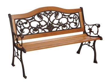 DC America SL5630CO-BR Birmingham Camelback Park Bench, Cast Iron Frame and Hardwood Slats, Rust Resistant Bronze Finish