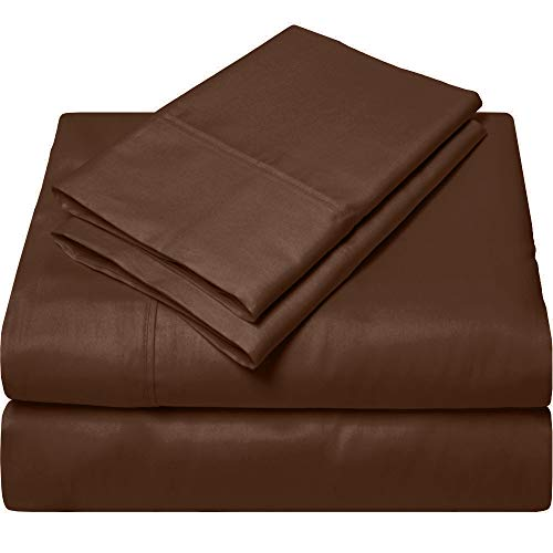 100% Real Cotton Super Soft Luxury King Size Cotton Sheets - 4 Piece Bedding 1000 Thread Count Sheet Set Chocolate Solid